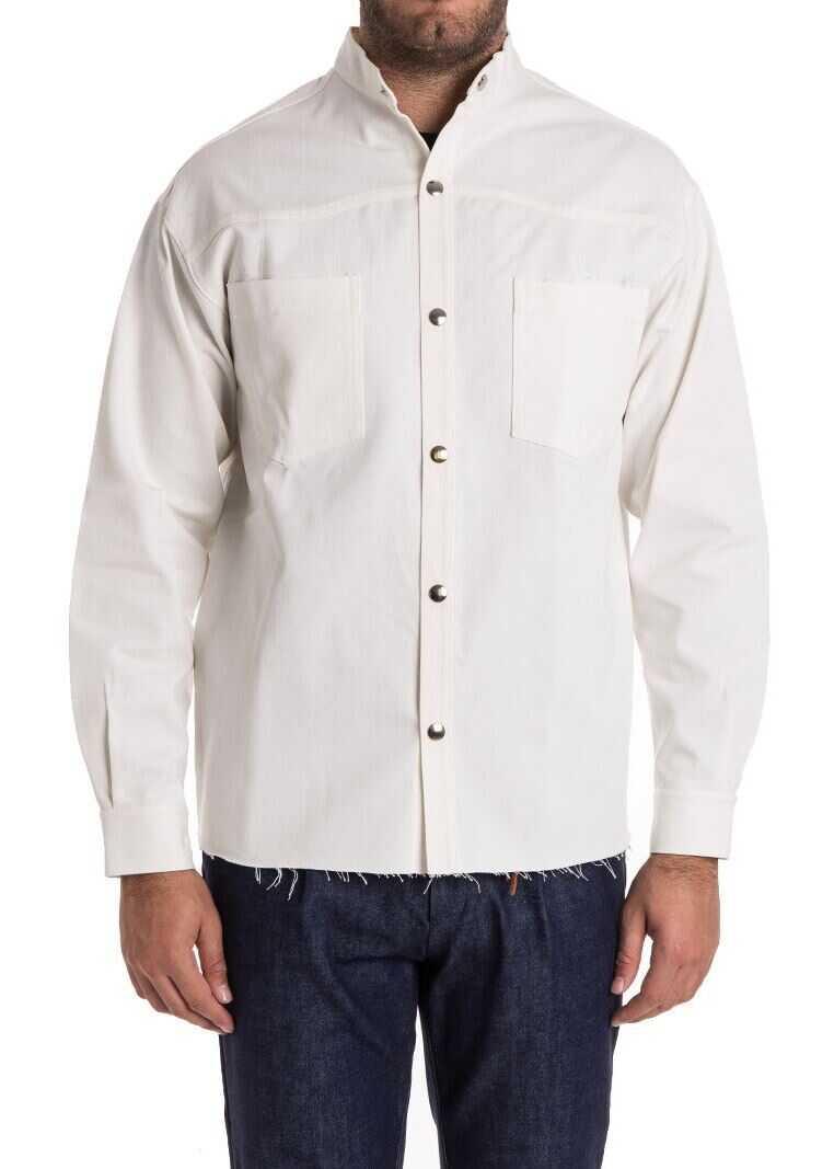 Ribbon Clothing Cotton Shirt White imagine