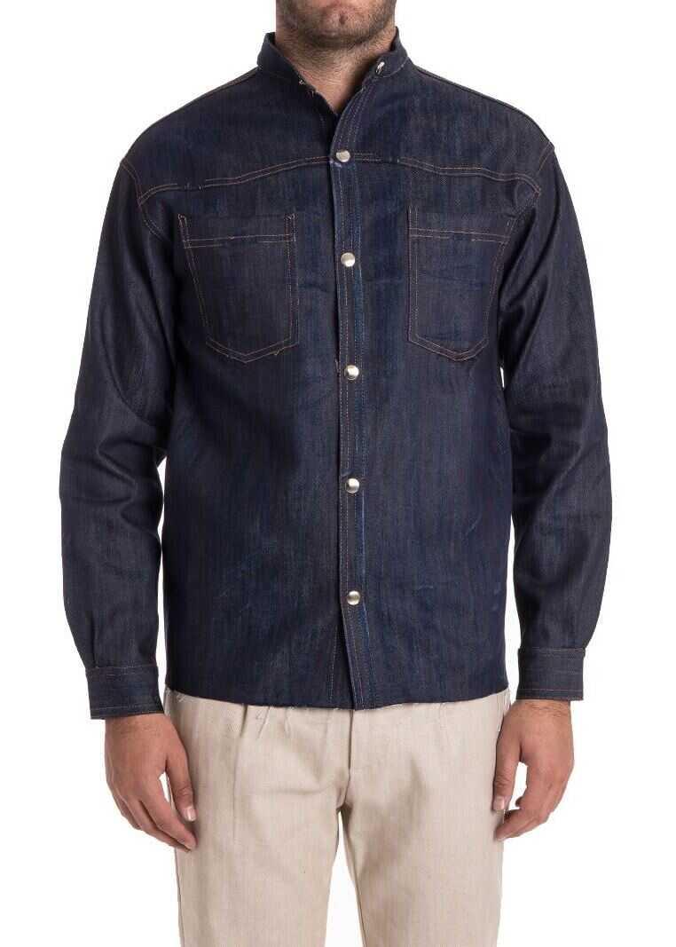 Ribbon Clothing Cotton Shirt Blue imagine