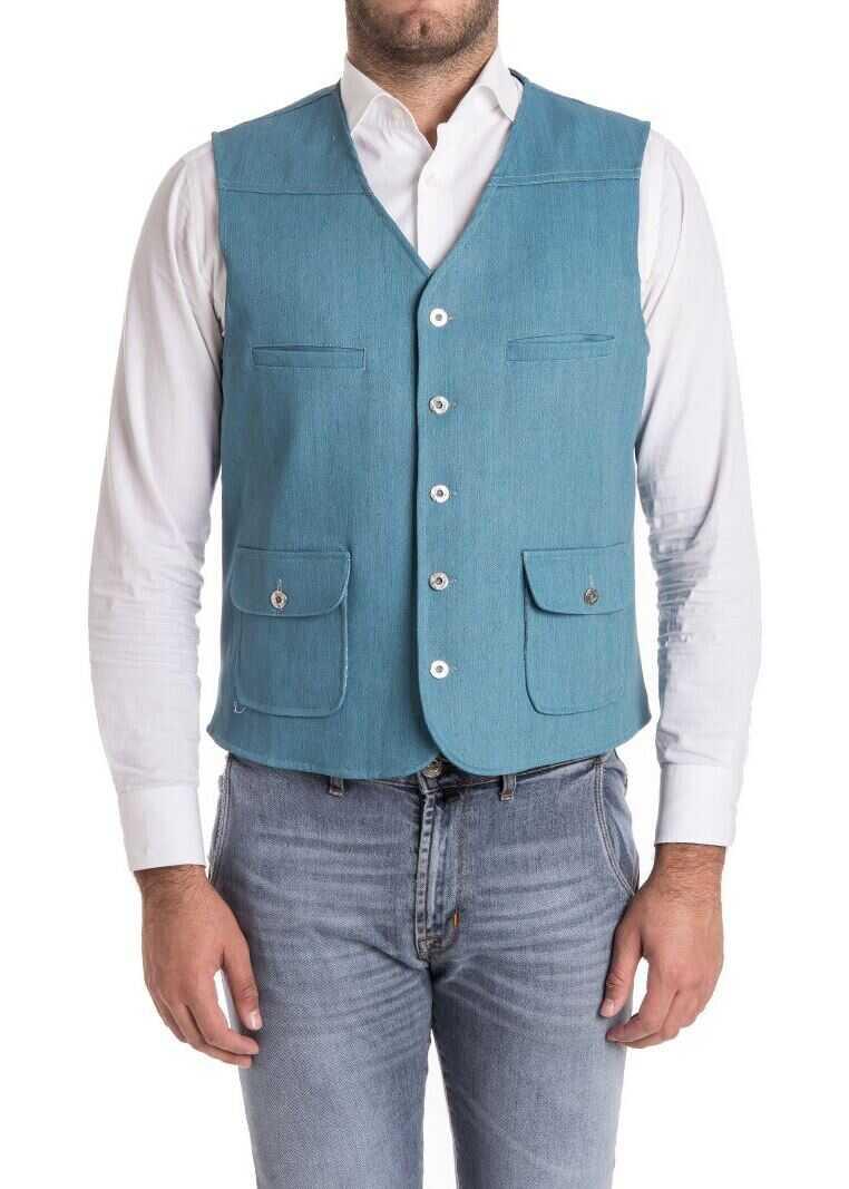 Ribbon Clothing Cotton Waistcoat Light Blue imagine