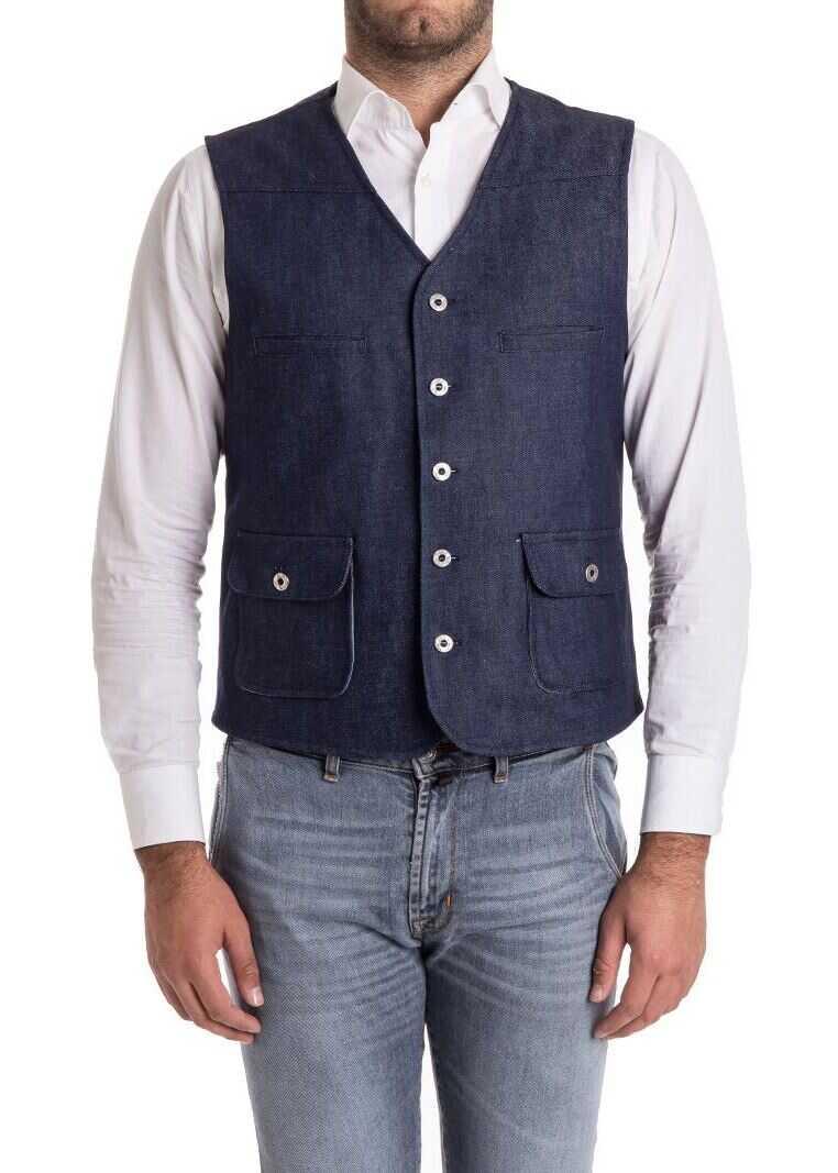 Ribbon Clothing Cotton Waistcoat Blue imagine