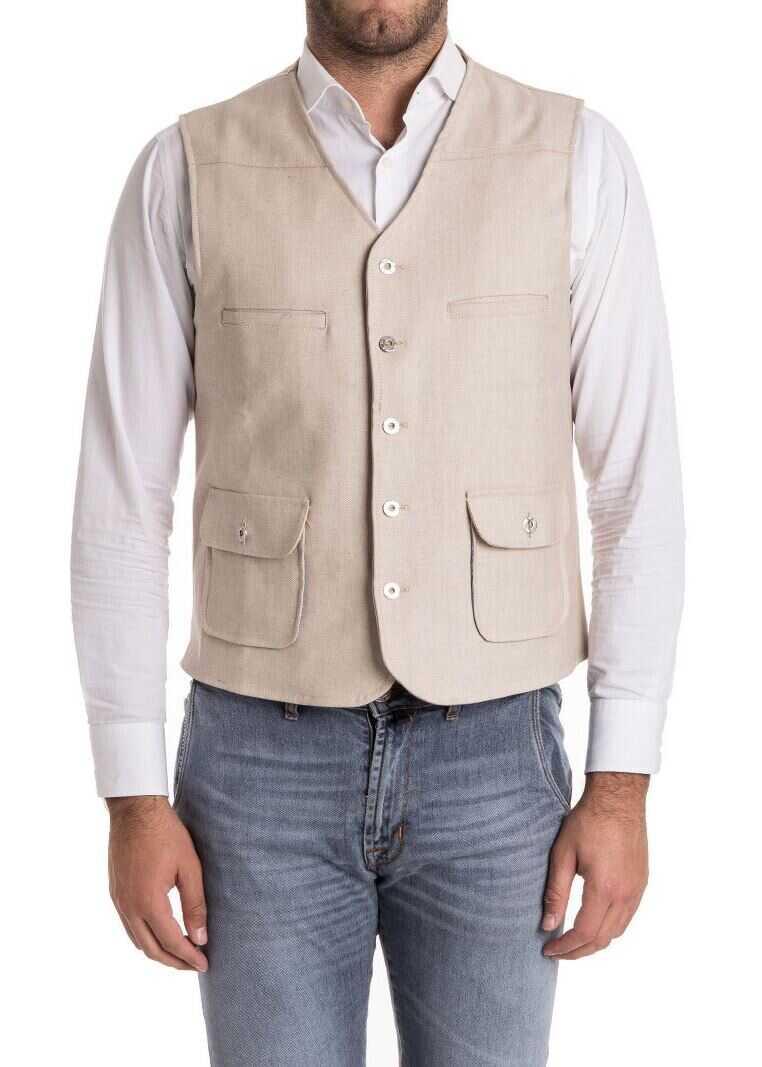 Ribbon Clothing Cotton Waistcoat Beige imagine