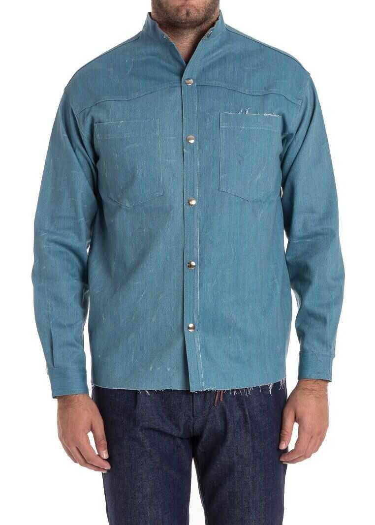 Ribbon Clothing Cotton Shirt Light Blue imagine