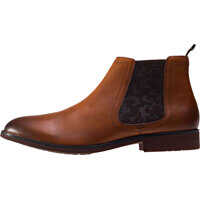 Ghete & Cizme Print Elastic Chelsea Boots In Brown Barbati