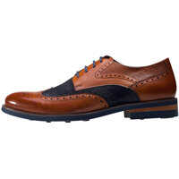 Pantofi Waxed Combi Shoes In Tan Navy Barbati