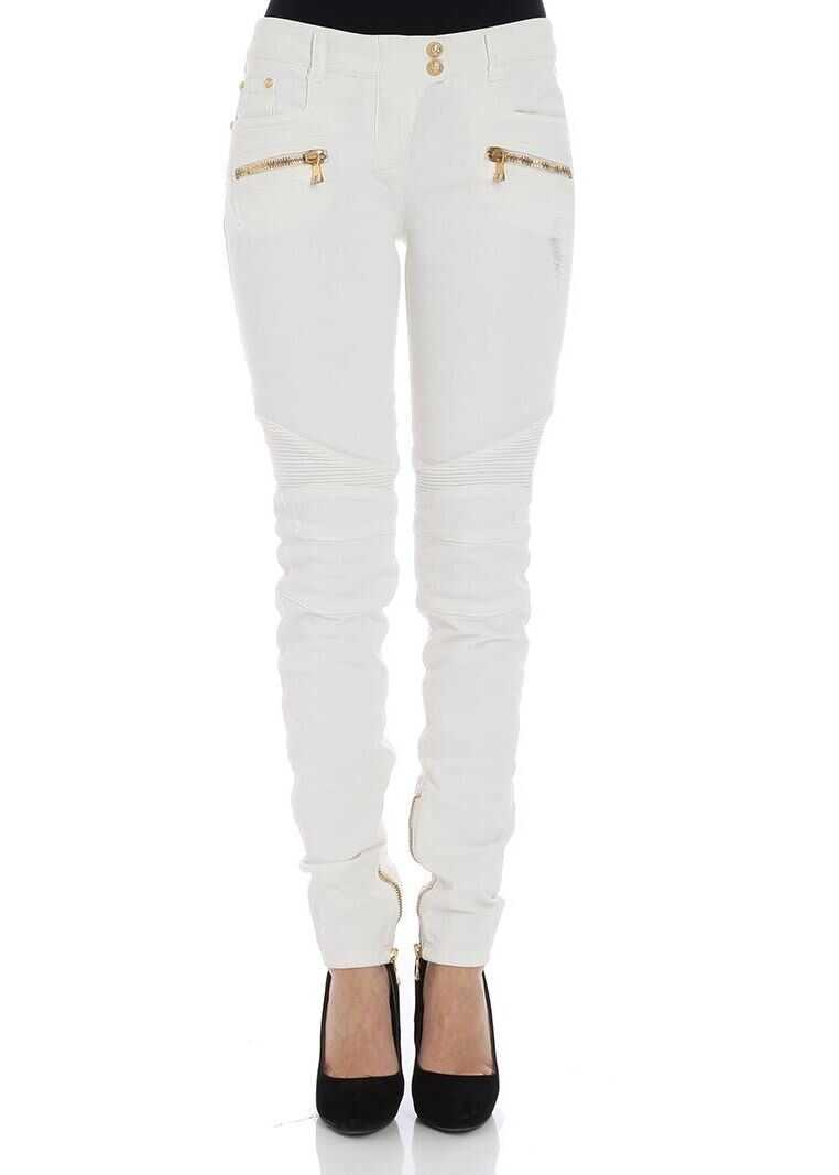 Balmain White Jeans With Zip White