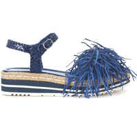 Sandale Pons Quintan Blue Woven Leather Sandal With Fringes Femei