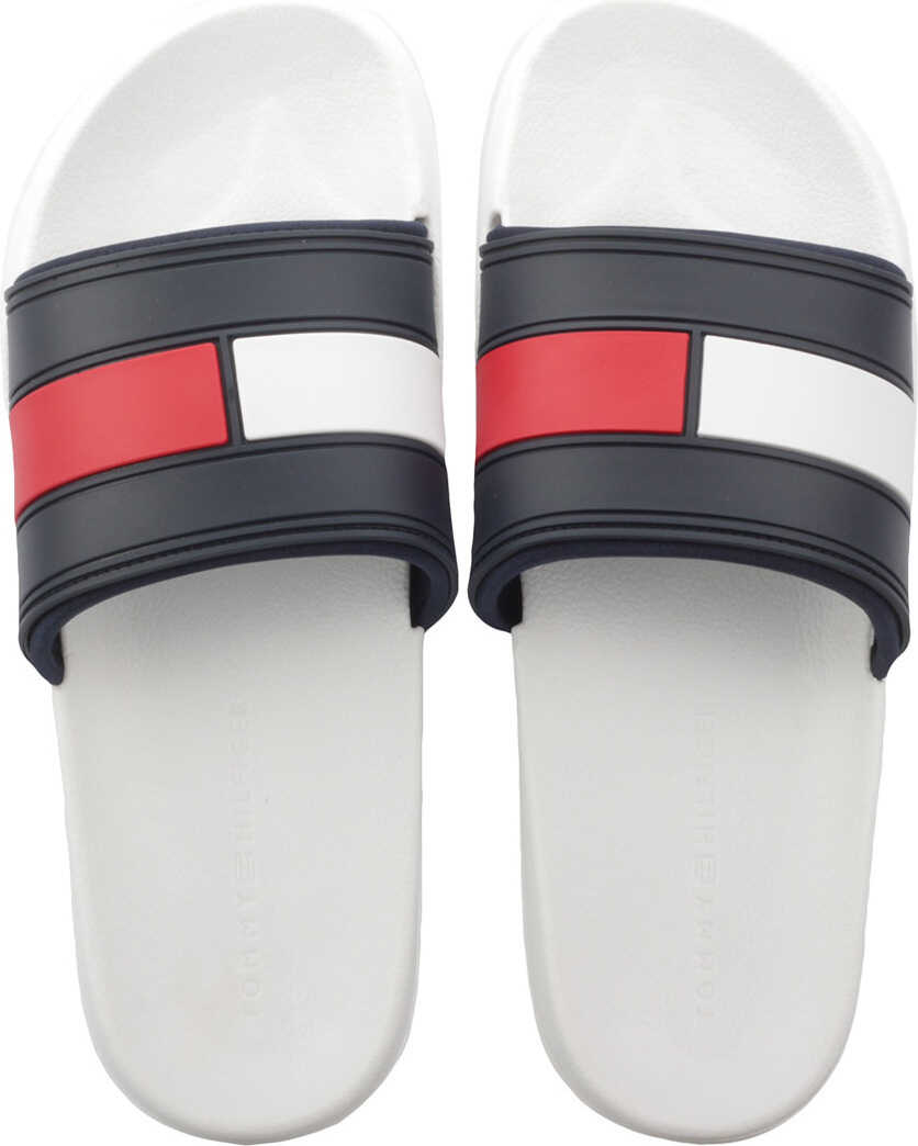 Slapi Barbati Tommy Hilfiger Flag Pool Slide In White Navy Red