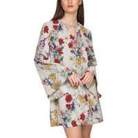 Rochii Women's Grey Floral Dress Femei