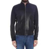 Geci de Piele Karl Lagerfeld Blue Leather And Suede Jacket