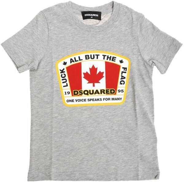 Tricouri Baieti DSQUARED2 Grey Luck All But The Flag T-Shirt