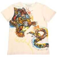 Tricouri Ecru T-Shirt With Tiger And Snake Print Fete
