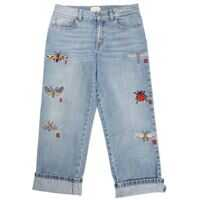 Blugi drepti Light Blue Jeans With Insect Embroidery Fete
