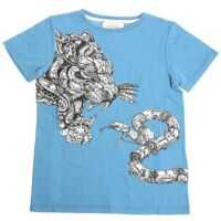 Tricouri Light Blue Tiger And Snake Print T-Shirt Baieti