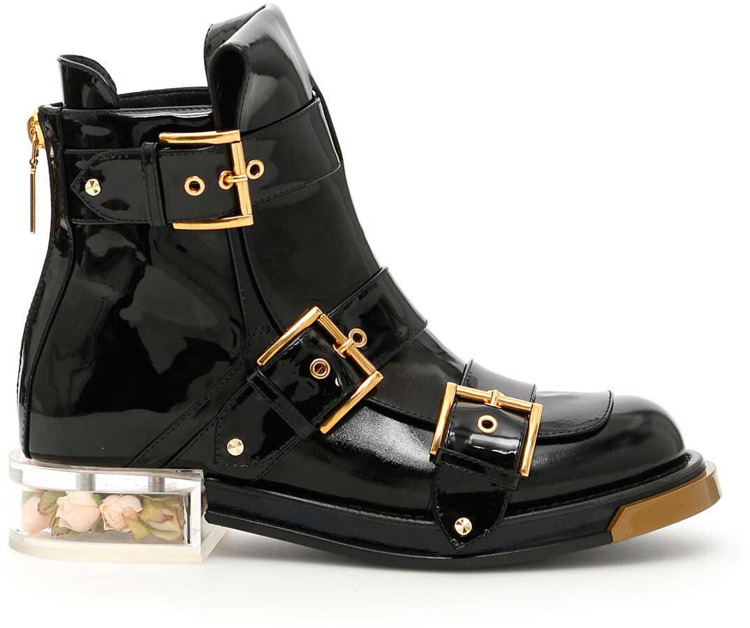 Alexander McQueen Brushed Calfskin Boots BLACK