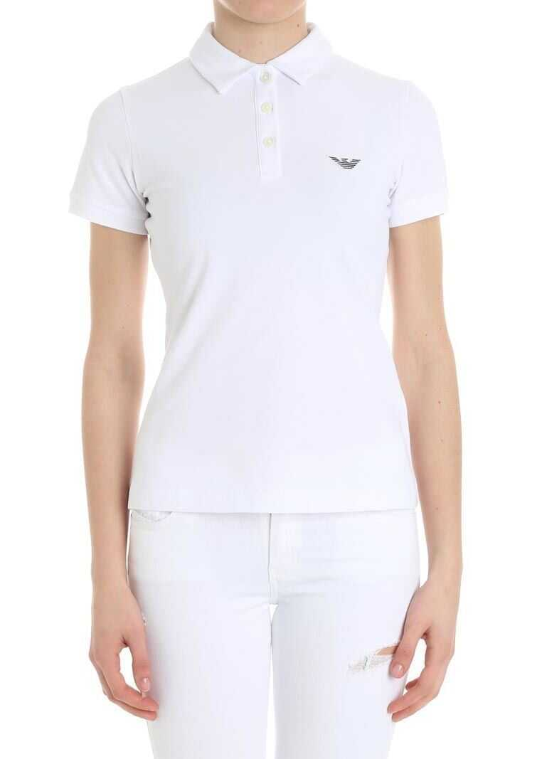 e4db816637 Tricouri Polo Emporio Armani White Polo With Logo White Femei ...