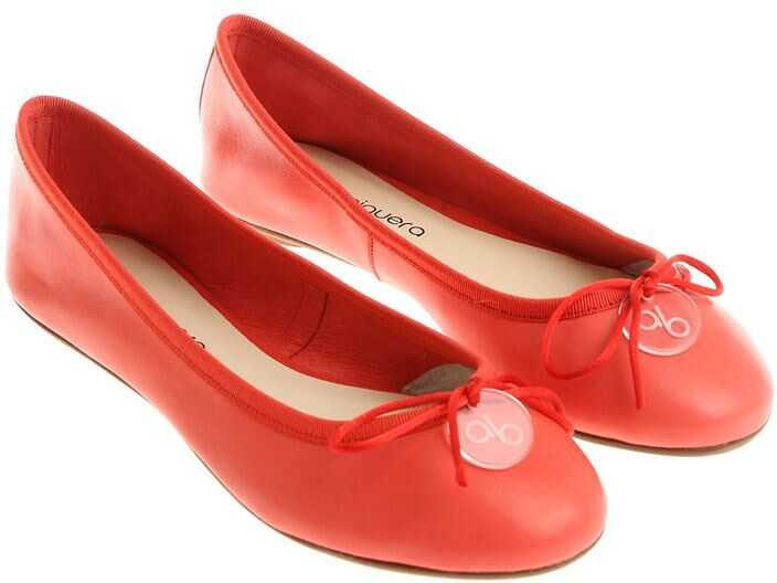 Anna Baiguera Coral Red Ballerinas With Bow Red