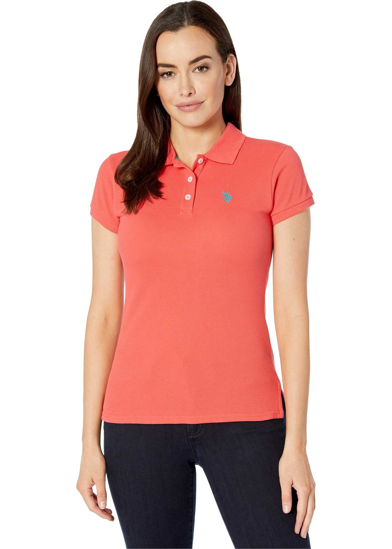 U.S. POLO ASSN. Solid Pique Polo Shirt Max Poppy