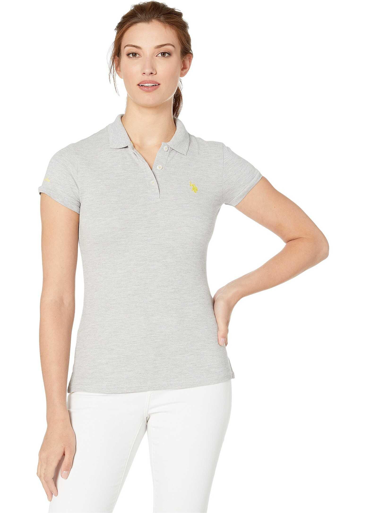 U.S. POLO ASSN. Solid Pique Polo Shirt Light Heather Grey/Sundeck