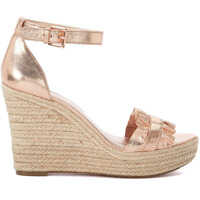 Sandale Bella Pink Leather Wedged Sandal With Rouches Femei