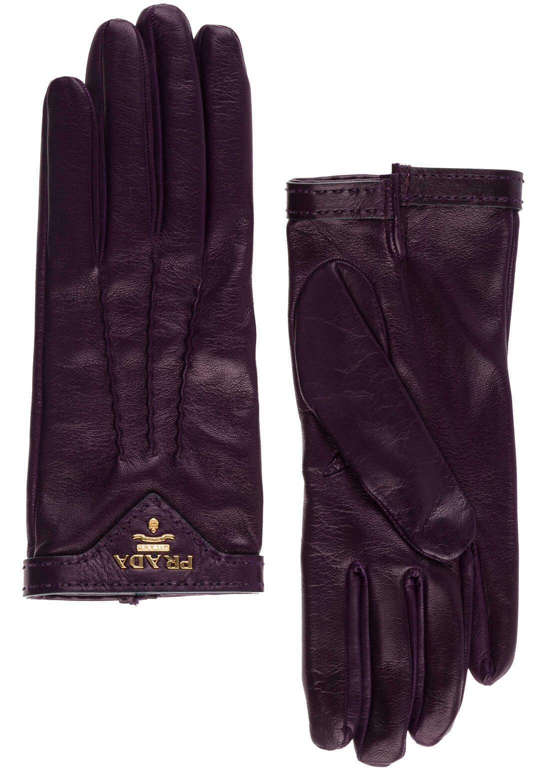 Prada Leather Gloves Purple