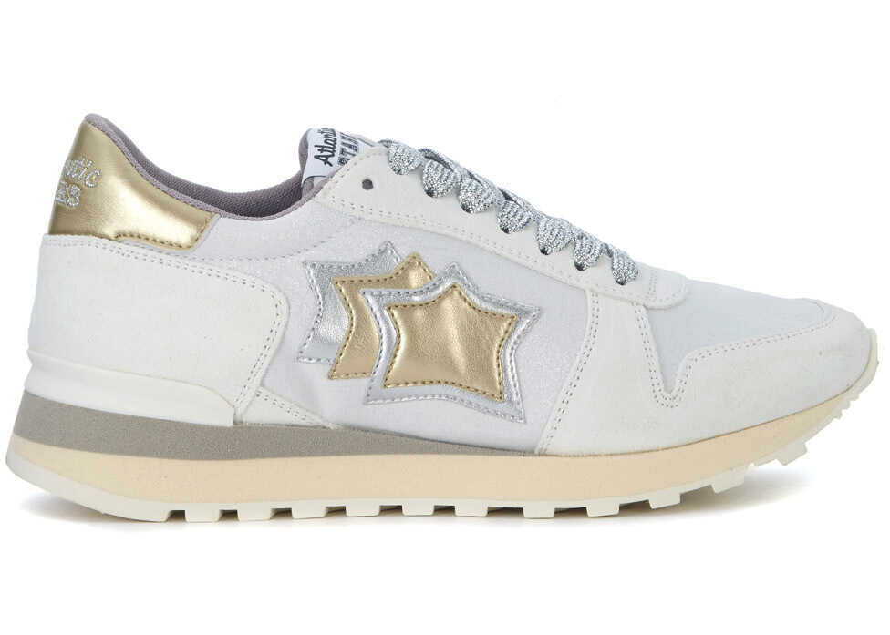 Atlantic Stars Alhena White, Gold And Silver Leather Sneakers* White