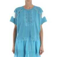 Bluze Light Blue Top With Lace Inserts Femei