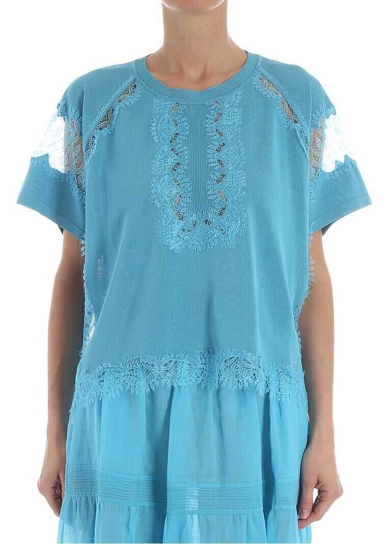 Light Blue Top With Lace Inserts