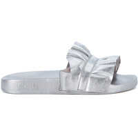 Sandale Michael Kors Bella Silver Leather Slipper With Ruffles