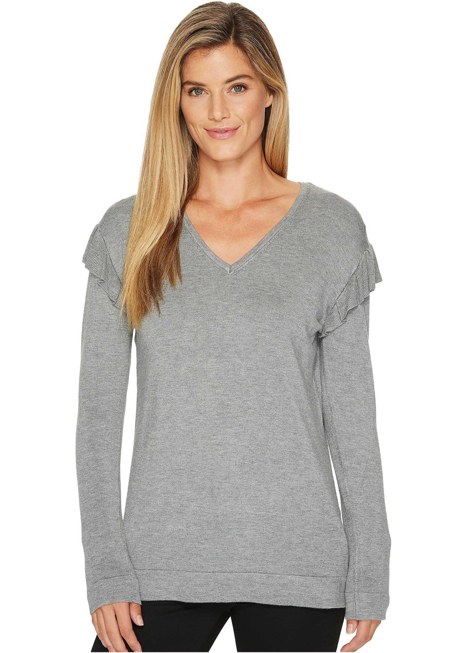 Calvin Klein V-Neck with Ruffle Sleeve Heather Granite