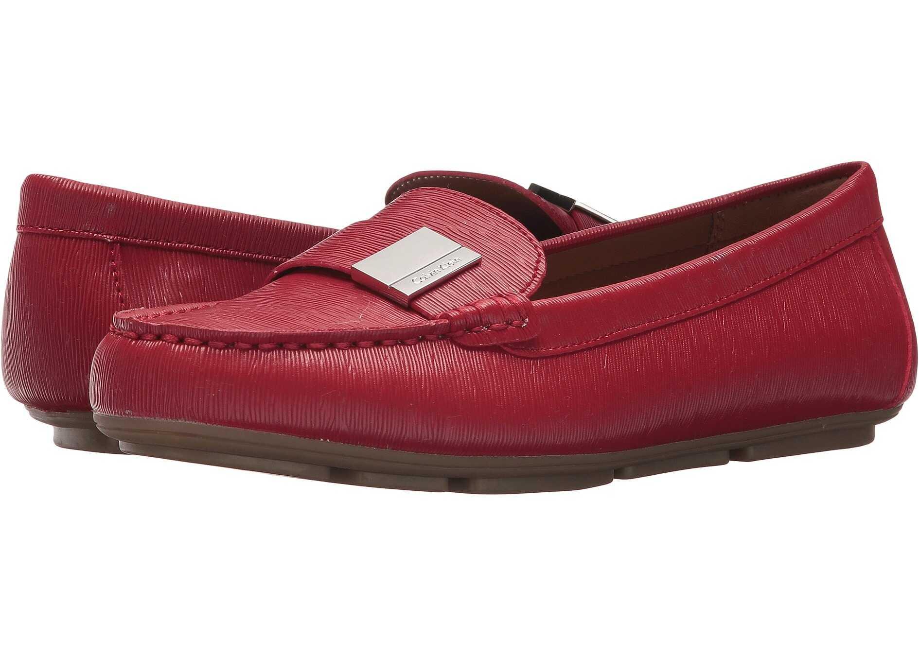 Calvin Klein Lisa Crimson Red Birtch Saffiano Smooth