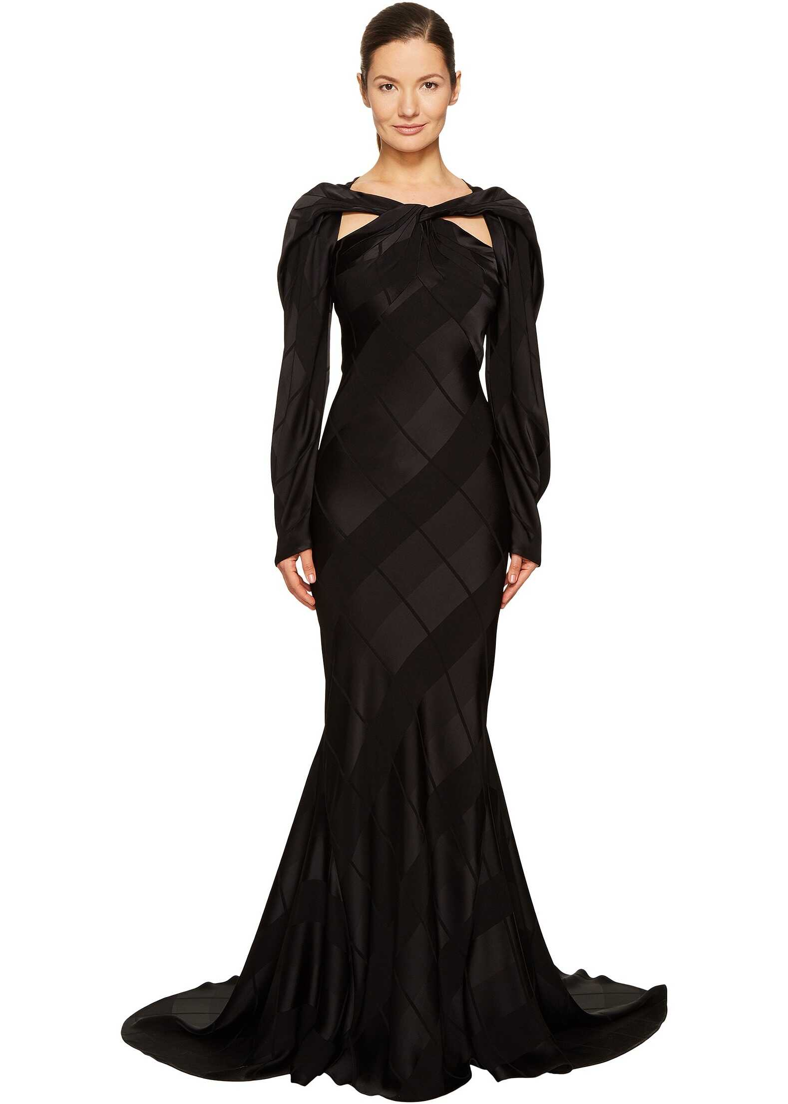 Zac Posen Satin Crepe Jacquard Long Sleeve Cut Out Gown Black