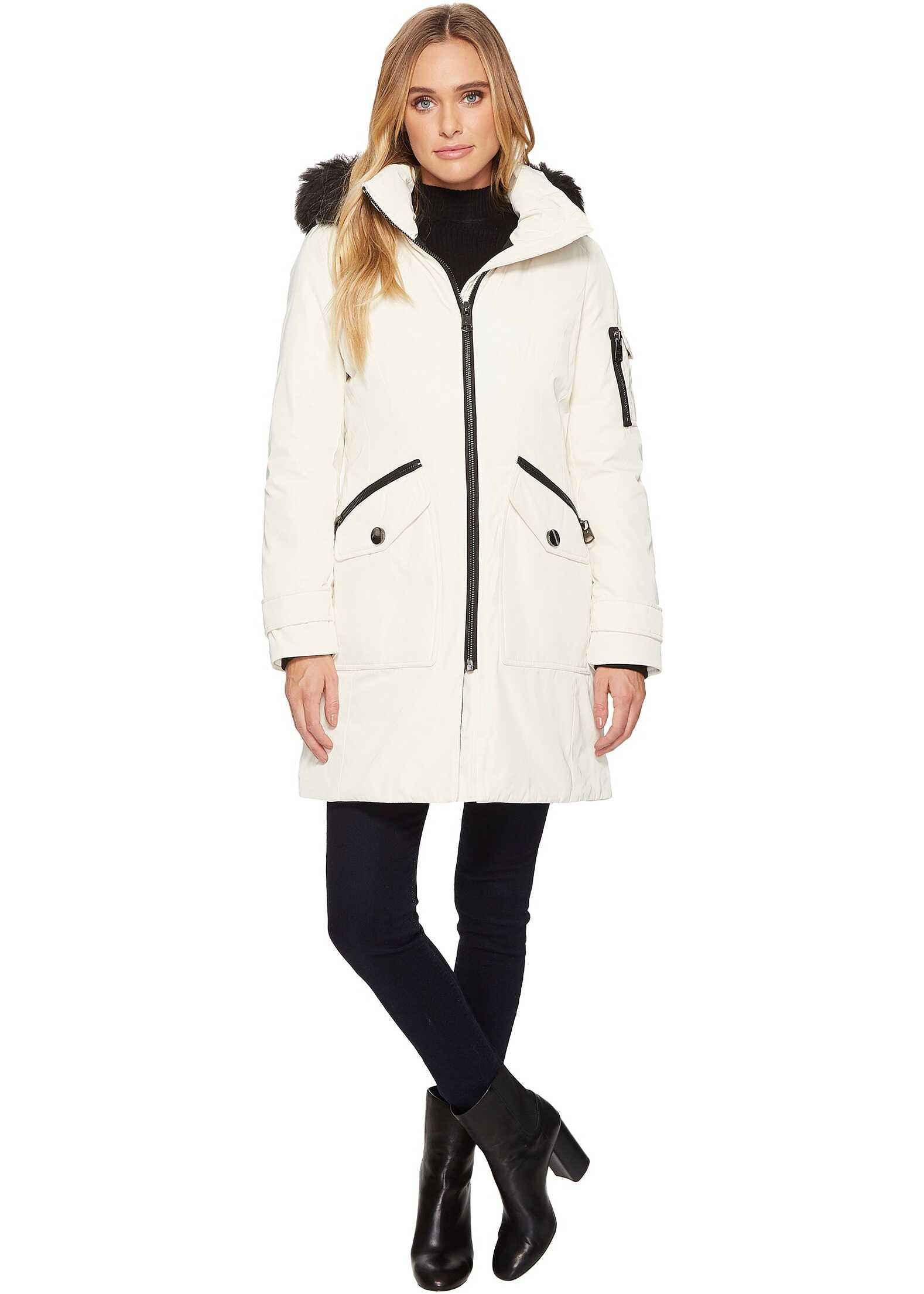 Calvin Klein Parka with Detachable Fur Trimmed Hood Milky White