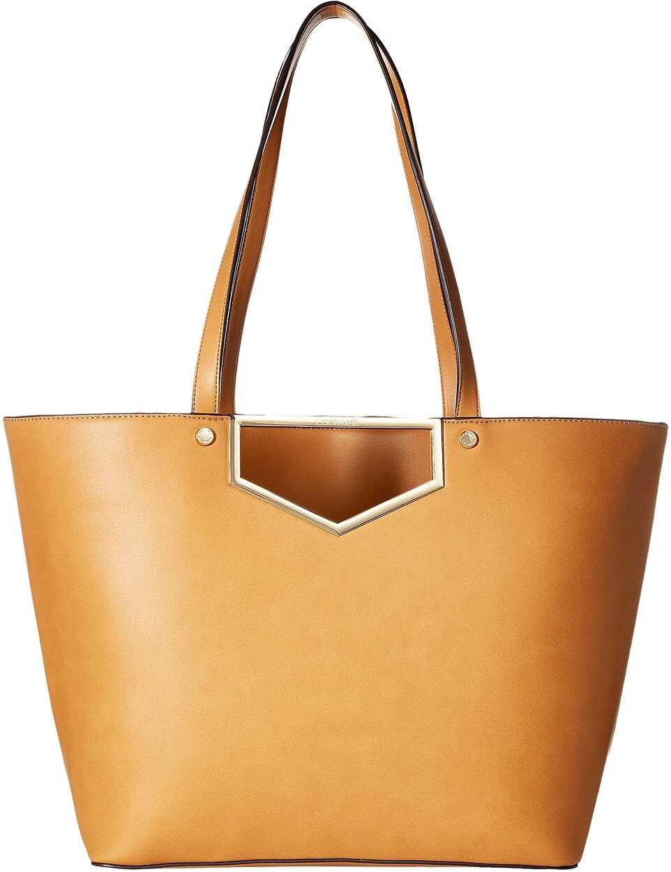 Calvin Klein Novelty Cut Out Hardware Tote Cashew
