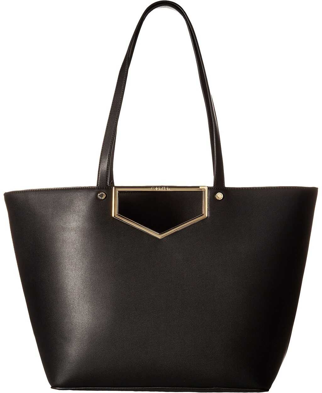 Calvin Klein Novelty Cut Out Hardware Tote Black/Gold