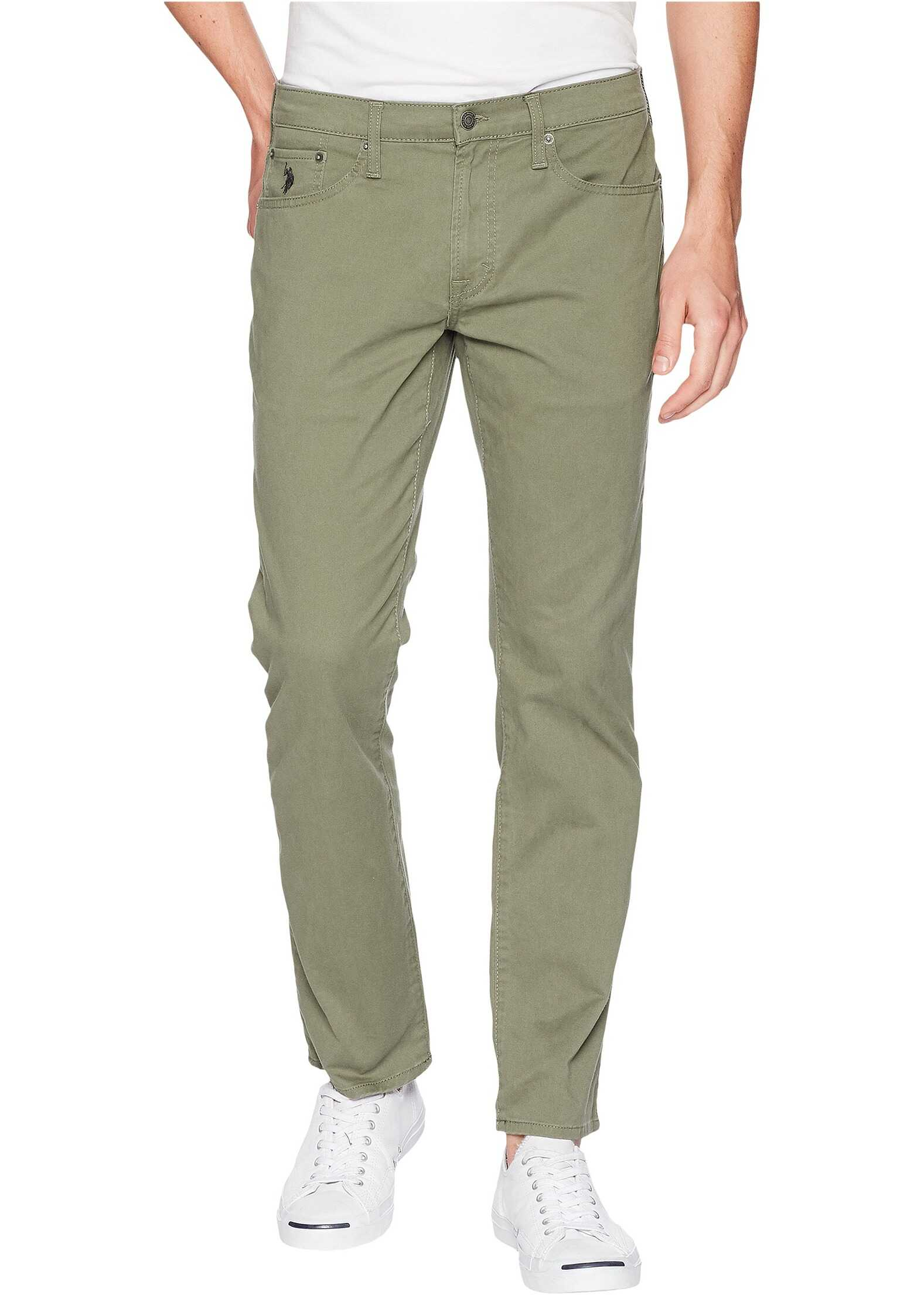 U.S. POLO ASSN. Slim Straight Stretch Five-Pocket Pants Olive Dusk