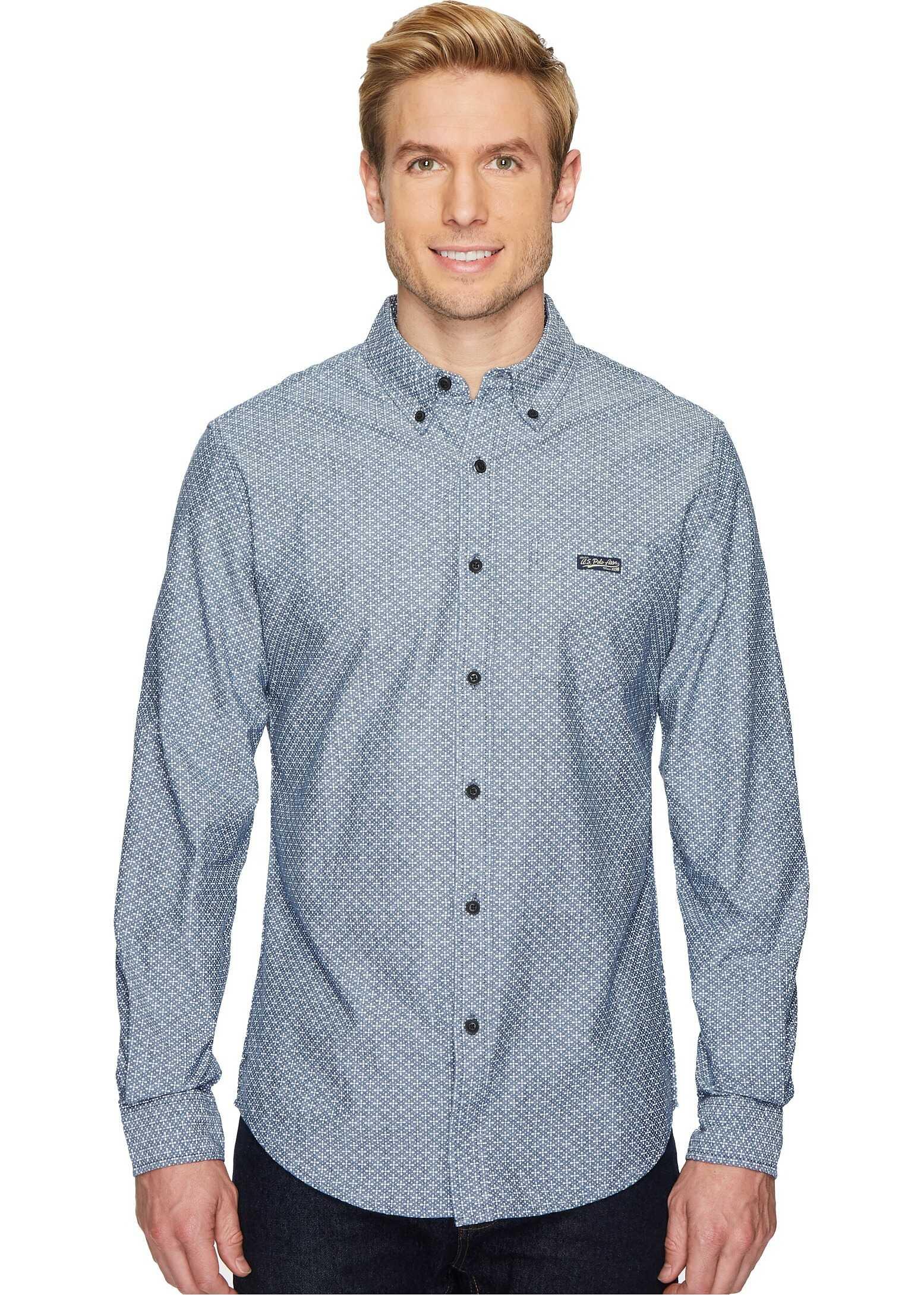 U.S. POLO ASSN. Long Sleeve Slim Fit Fancy Shirt Infinity Blue