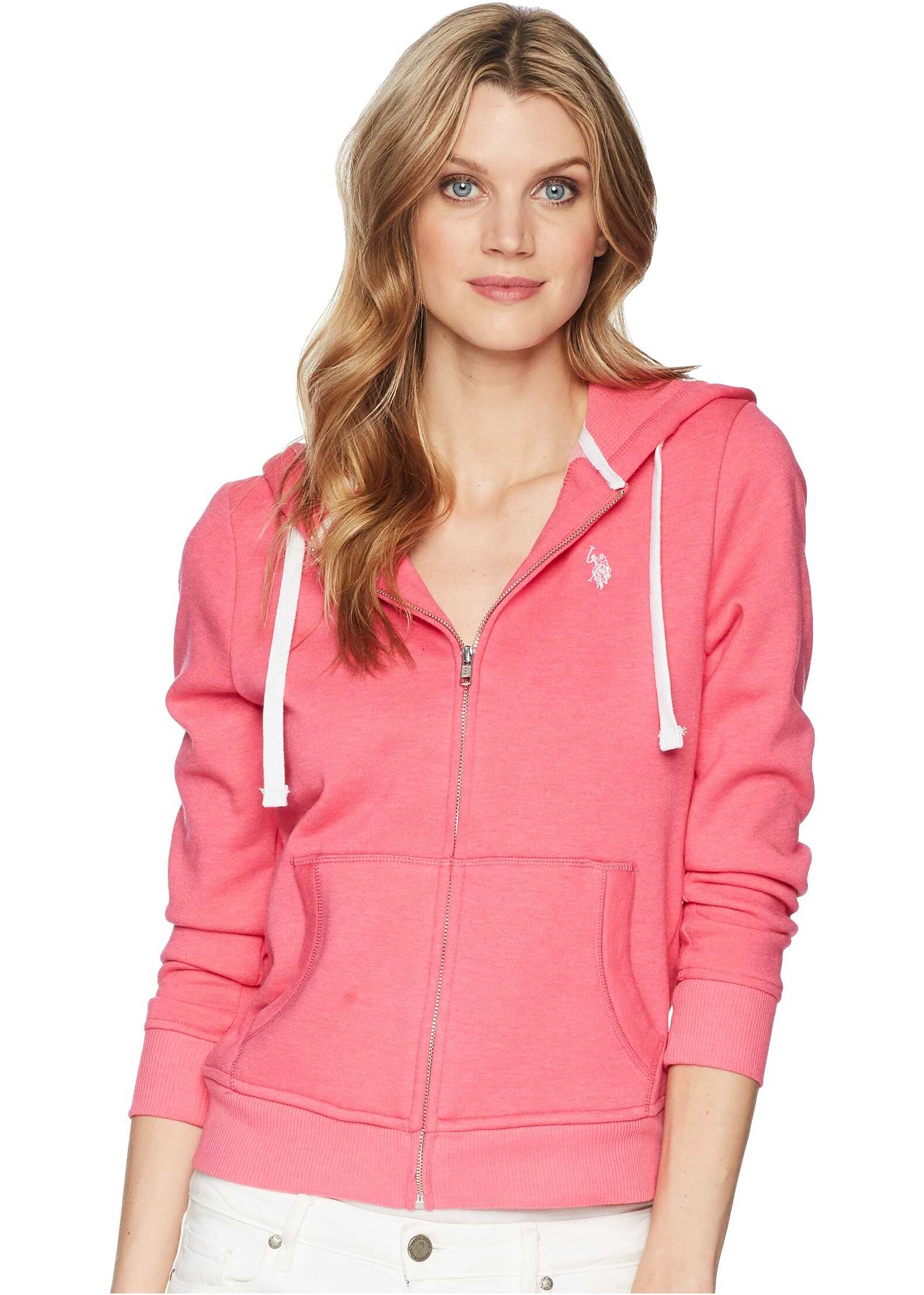 U.S. POLO ASSN. Zip-Up Fleece Hoodie Pink Oleander