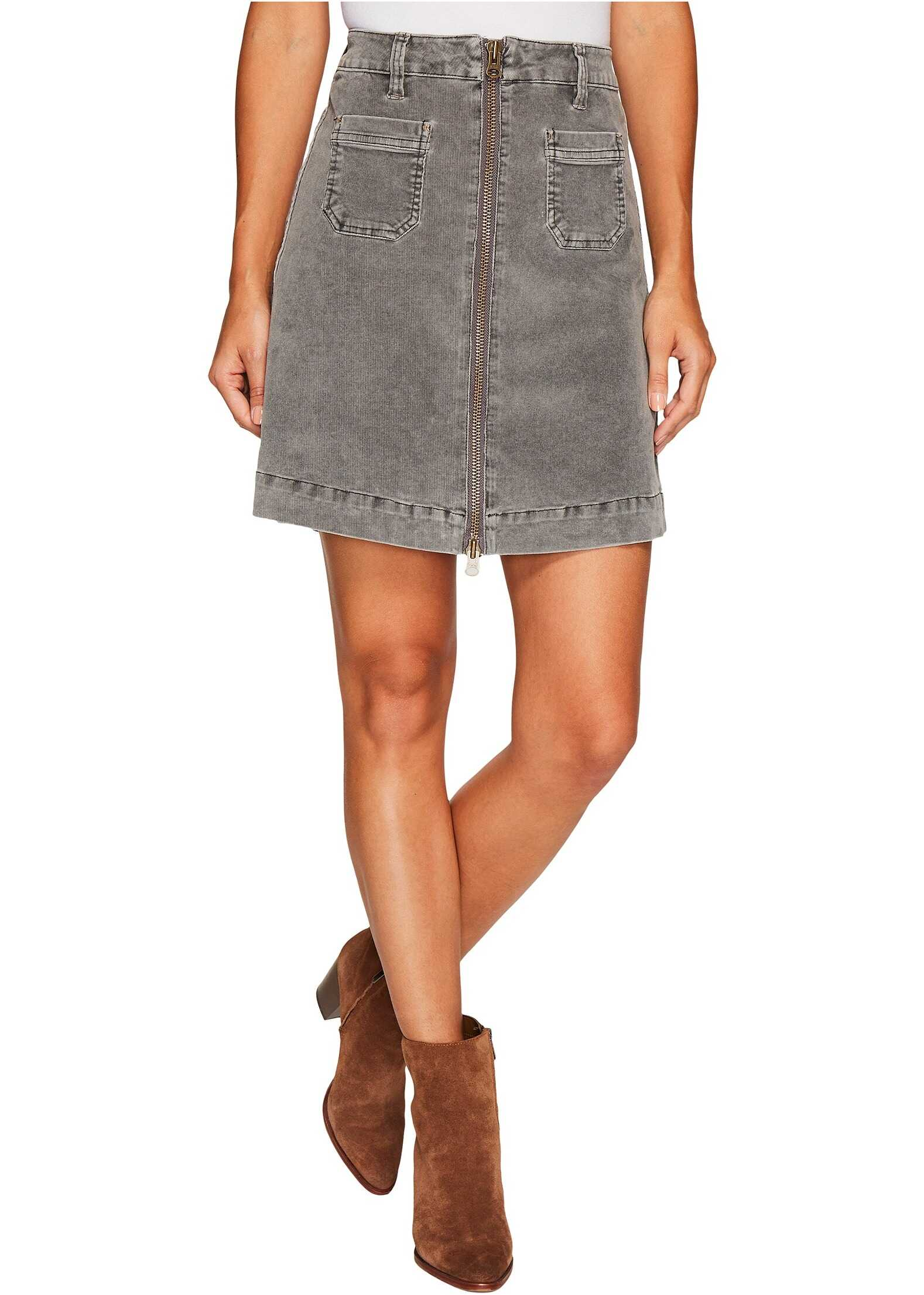 Jag Jeans McCamey Zip Front Skirt in Refined Corduroy Charred
