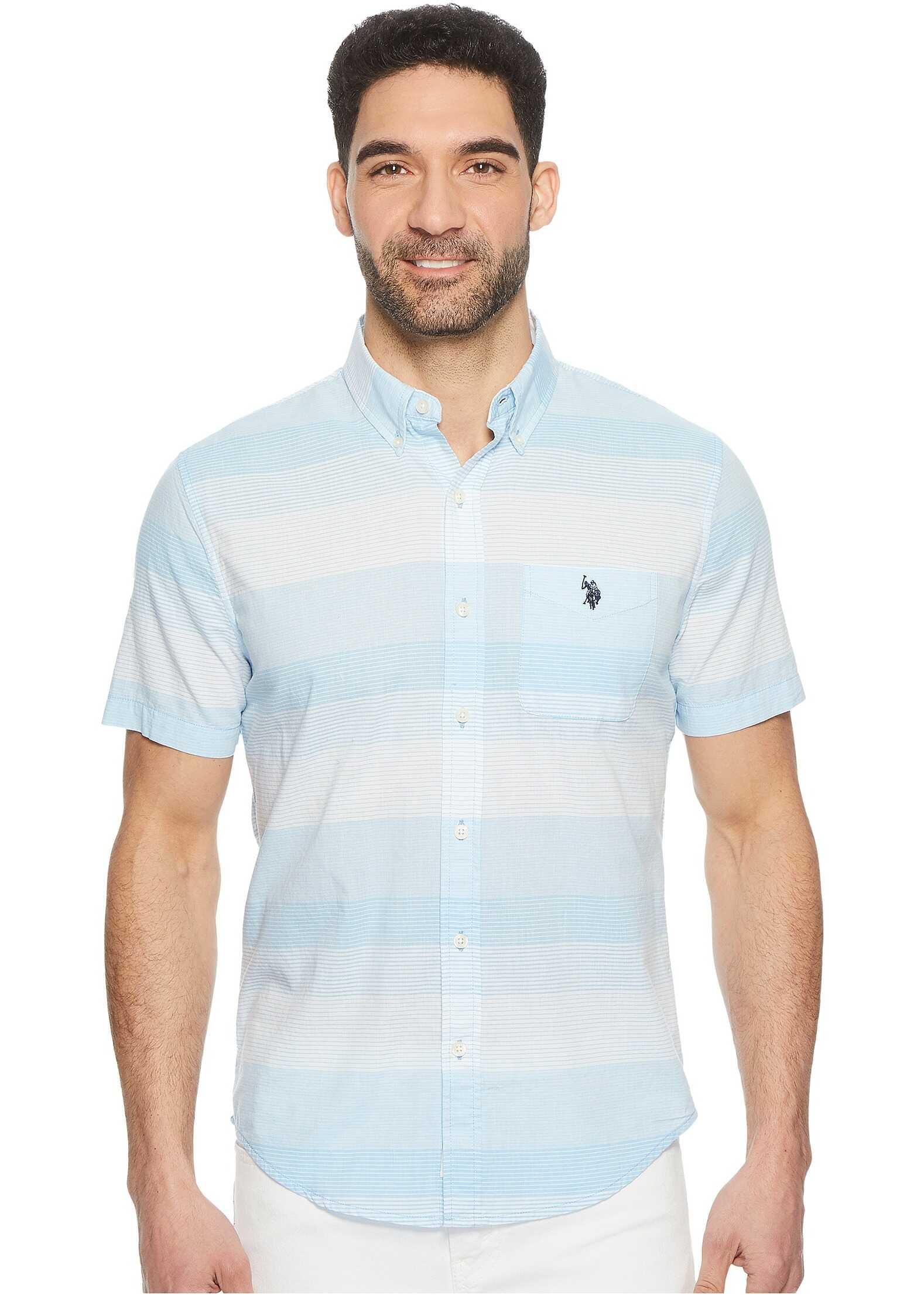 U.S. POLO ASSN. Short Sleeve Slim Fit Striped Shirt Coast Azure