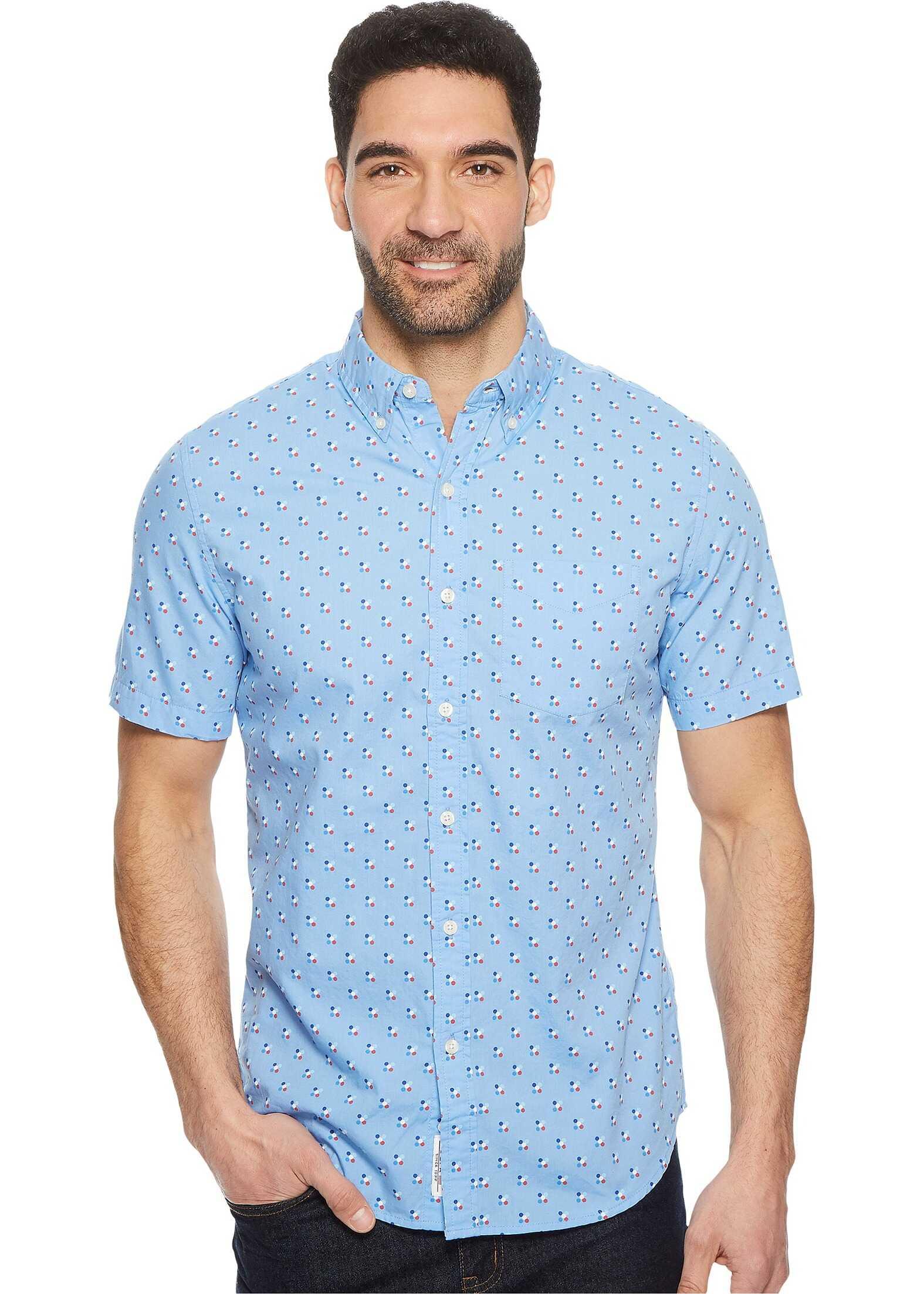 U.S. POLO ASSN. Short Sleeve Slim Fit Fancy Shirt Discharged Print Vista Blue