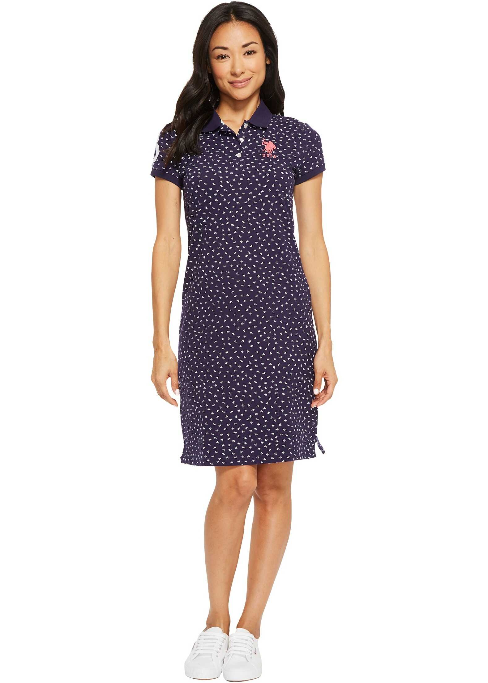 U.S. POLO ASSN. Leaf Bud Print Polo Dress Evening Blue