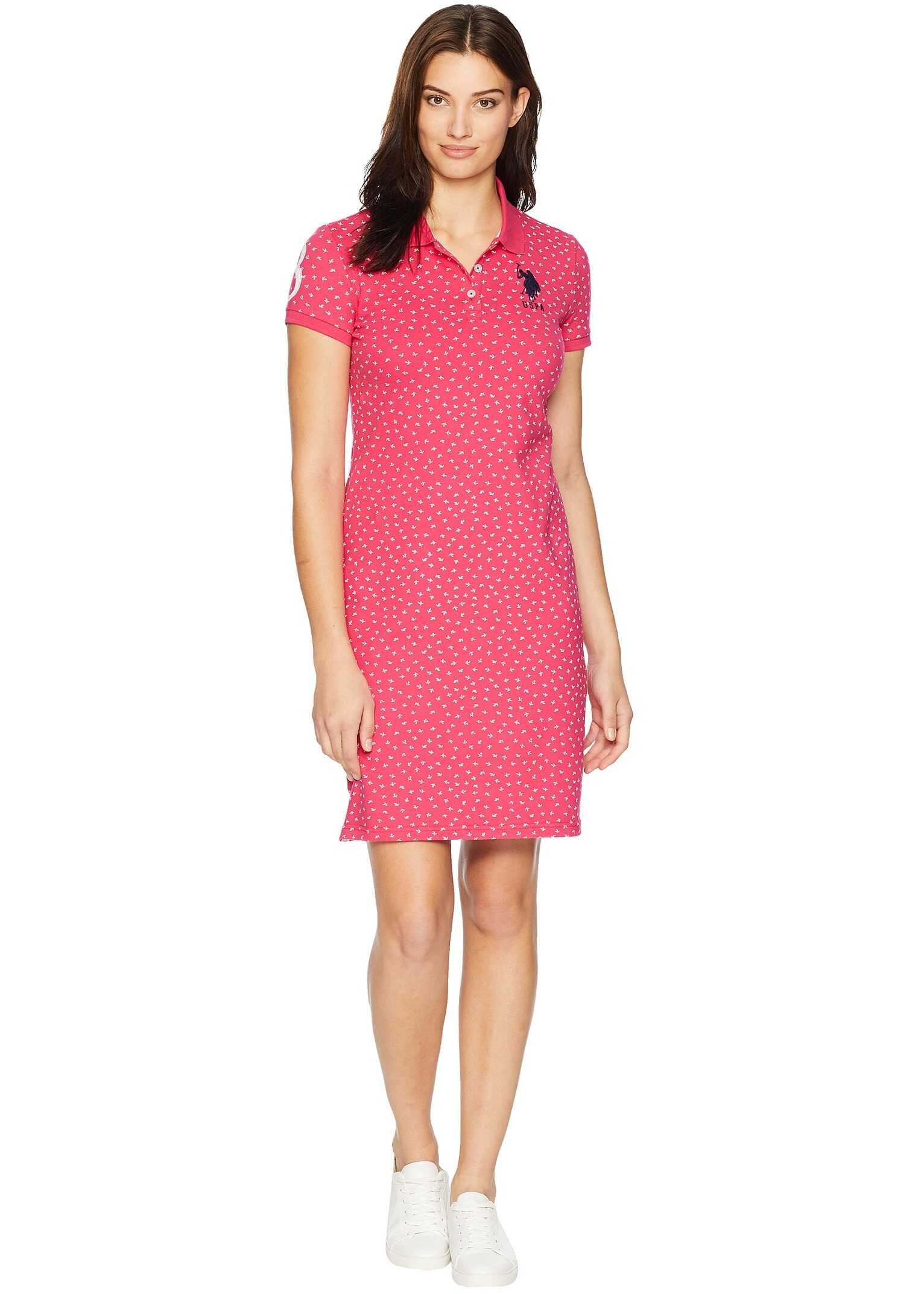 U.S. POLO ASSN. Leaf Bud Print Polo Dress Bright Rose