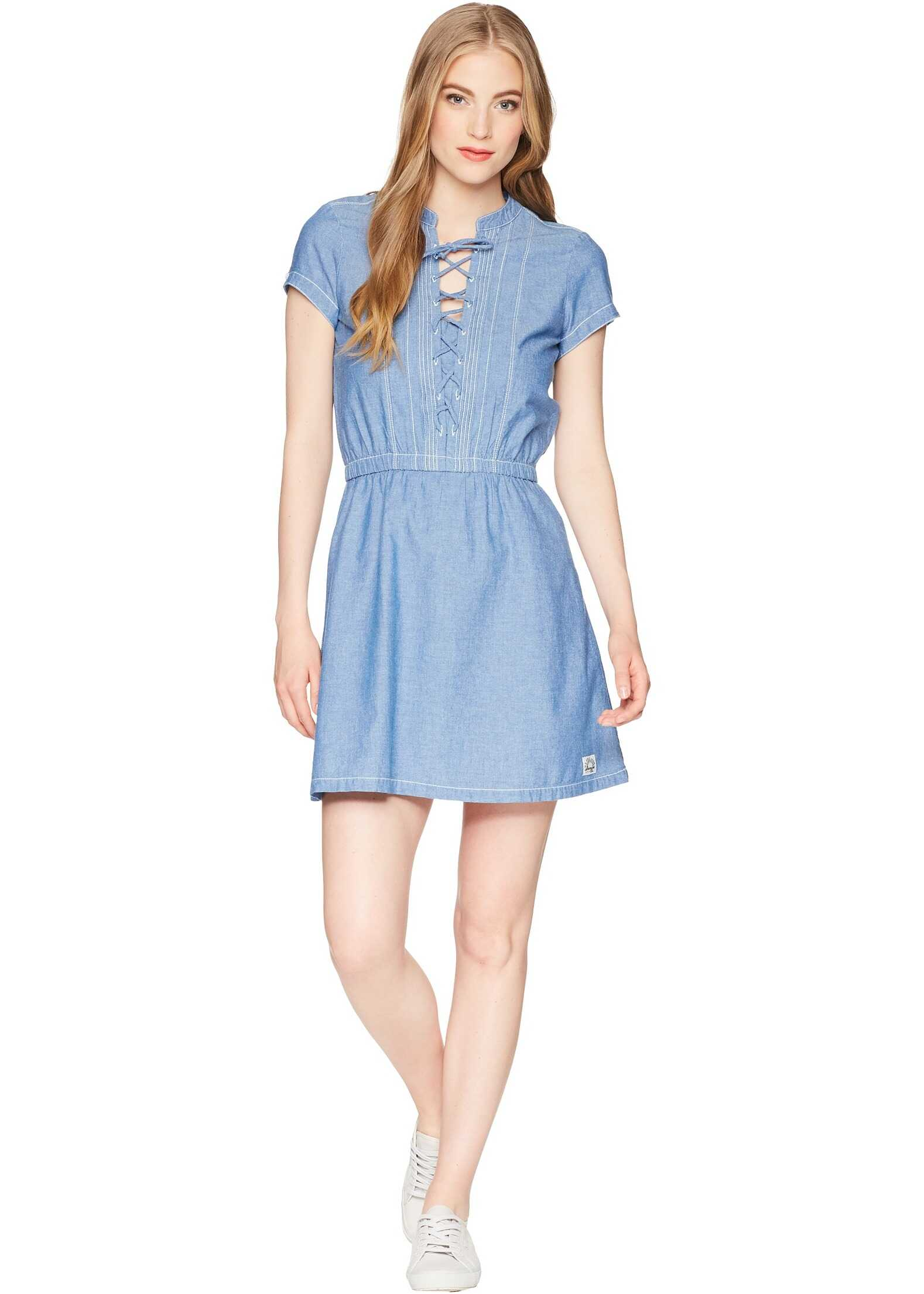 U.S. POLO ASSN. Cross and Pleat Chambray Dress Blue Chambray