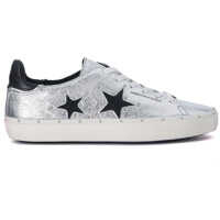 Tenisi & Adidasi Michell Silver And Black Leather Sneaker With Studs* Femei