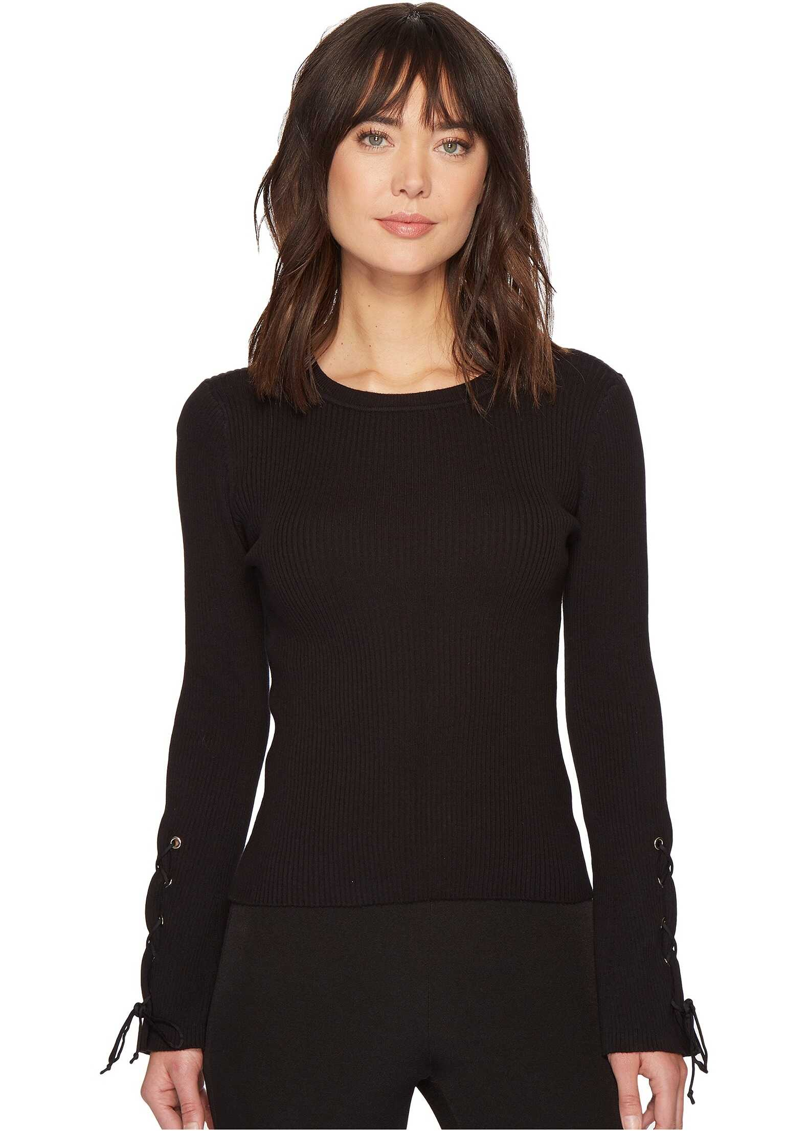 Vince Camuto Lace-Up Bell Sleeve Ribbed Sweater Rich Black