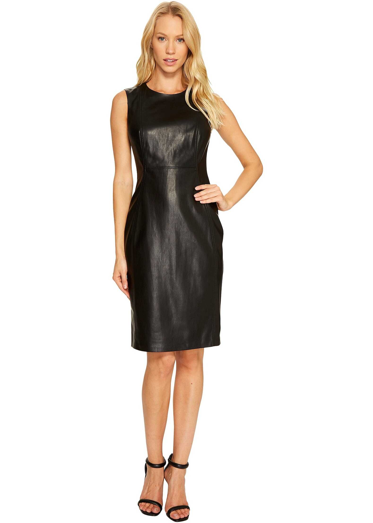 Calvin Klein PU Sheath Dress Black
