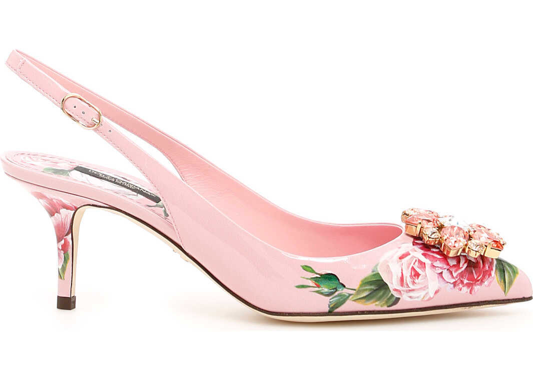 Dolce & Gabbana Peony Print Bellucci Slingbacks PEONIE FDO PANNA