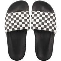 Slapi Slide-On Checkerboard Sandals In White Black Barbati