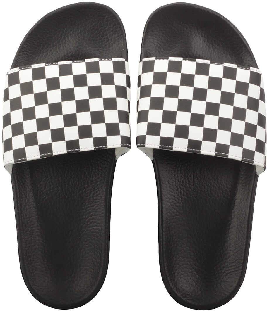 Vans Slide-On Checkerboard Sandals In White Black White