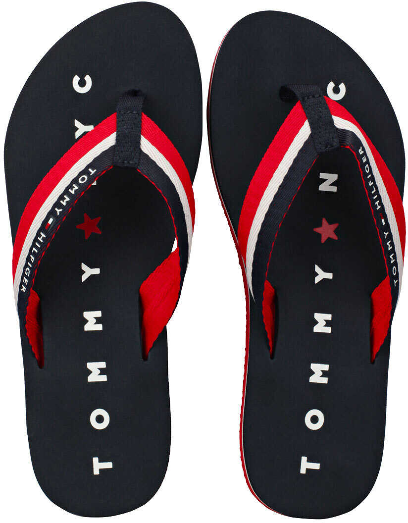 Tommy Hilfiger Tommy Loves Ny Beach Sandals In Navy Red Blue Blue